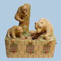 Chalkware Bear Lamp