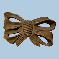 Large Carved Wooden Bow Pin