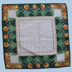 Green Orange Tulip Handkerchief