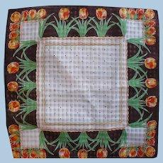 Brown Orange Tulip Handkerchief