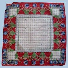 Red Blue White Tulip Handkerchief