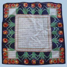 Orange Navy Tulip Handkerchief