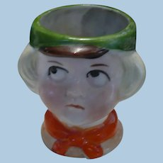 Little Boy Face Egg Cup Toothpick Container Germany