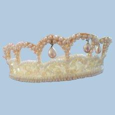 Small Lace Faux Pearl Bridal Tiara