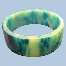 Marbled Green Yellow Blue Bakelite Bracelet