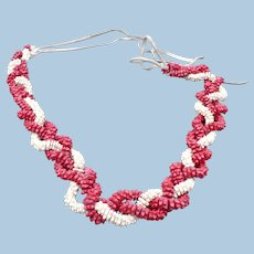 Braided Red White Flower Necklace