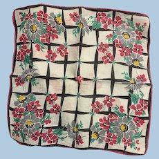 1940s Floral Handkerchief