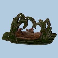 Bakelite wood carved palm trees boat pin