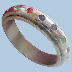 Stainless Steel Spinner Rhinestone Band Ring