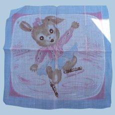 Ice Skating Dog Handkerchief