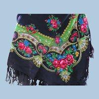 Floral Challis Wool Shawl scarf