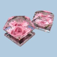 Lucite Pink Roses Candlesticks