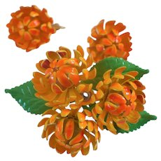 Enamel Orange Flower Pin& Earrings