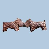 Carved Wood Dog Scarf Holder Pin