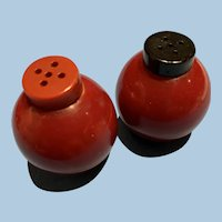 Red Bakelite Salt Pepper set