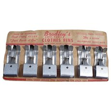 1950s Bradley's Life Time Aluminum Clothes Pins