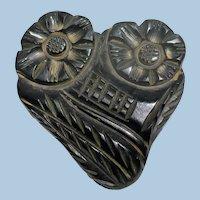 Large Black Bakelite  Floral Carved Button