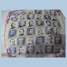 Know Your Presidents Handkerchief 1950's