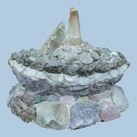 Folk Art Mineral and Rock Boat