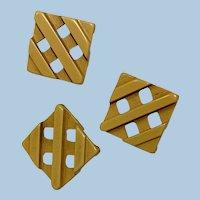 Three Bakelite Waffle Buttons