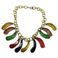 Bakelite Drop Multicolor Necklace