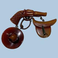 Bakelite Western Pin Gun Lasso Hat