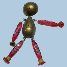 Funky Brass & Bead Man Pin