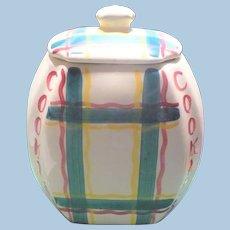 Purinton Green Plaid Cookie Jar