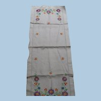 Hand Embroidered Floral Runner