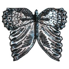 Hand Beaded  Stitched Applique Butterfly