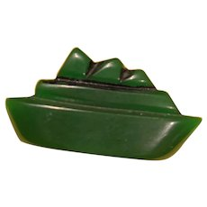 Carved Bakelite Boat button