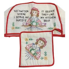 Hand Embroidered Toaster Cover and Apron potholder