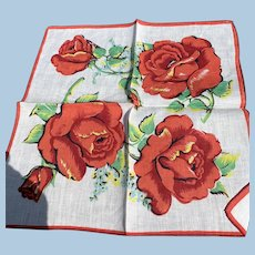 Large Red Roses Handkerchief