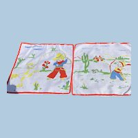 Pair Cowboy & Indian  Child's Handkerchiefs