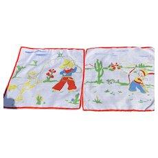 Pair Cowboy & Indian  Child's Handkerchiefs