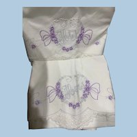 Pair His Hers Hand Embroidered Crochet Pillowcases
