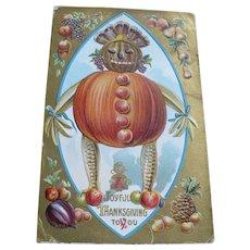 Thanksgiving Pumpkin Postcard 1910
