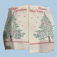 Hand Embroidered Xmas New year Towels
