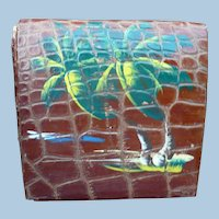 Bakelite Leather Compact with Palm Tree