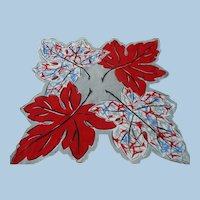 Unusual Red White Blue Leaf Handkerchief