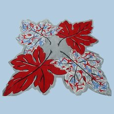Unusual Red White Blue Leaf Handkerchief