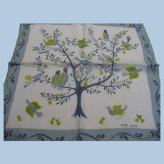 Faith Austin Birds in Pear Tree Handkerchief