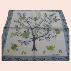Faith Austin Birds in Pear Tree Handkerchief