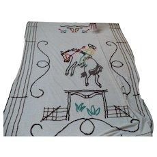Twin Cowboy Chenille Bedspread