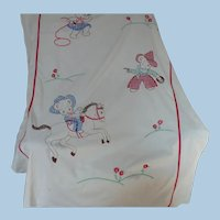 Embroidered  Cowboy Teddy Bear Sheet  Cover