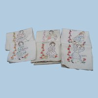 Six Hand Embroidered Household Chore Towels