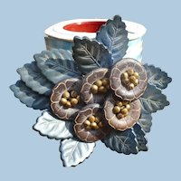 Miriam Haskell Wood Flowers &Leaves Pin