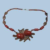 Wood Bakelite Acorn Beaded Necklace