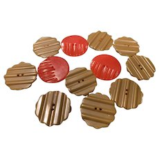 Bakelite Ribbed Buttons