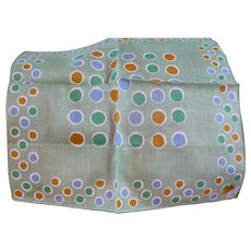 Light Green Polka Dot Linen Handkerchief